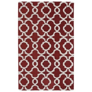 Hand-tufted Cosmopolitan Trellis Red/ Ivory Wool Rug (2' x 3')