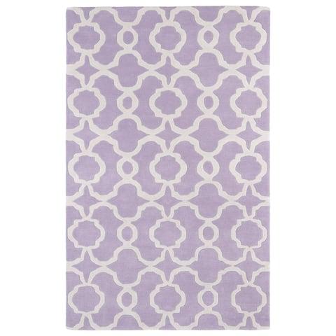 Hand-tufted Cosmopolitan Trellis Lilac/ Ivory Wool Rug - 2' x 3'