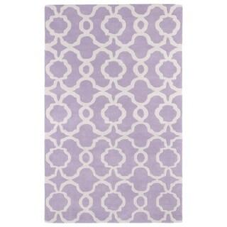 Hand-tufted Cosmopolitan Trellis Lilac/ Ivory Wool Rug (2' x 3')