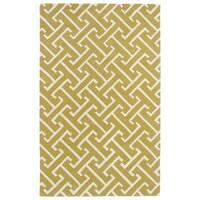 Hand-tufted Cosmopolitan Yellow/ Ivory Wool Rug - 2' x 3'