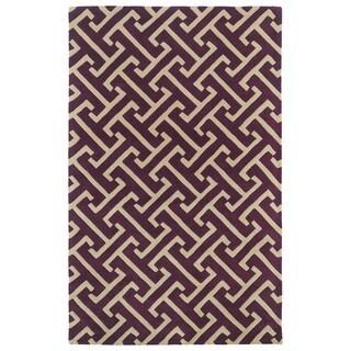 Hand-tufted Cosmopolitan Plum/ Beige Wool Rug (2' x 3')
