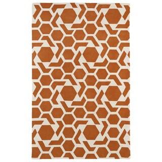 Hand-tufted Cosmopolitan Geo Orange/ Ivory Wool Rug (2' x 3')