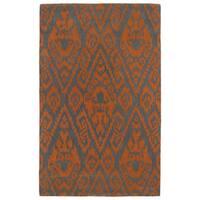 Hand-tufted Runway Orange/ Charcoal Ikat Wool Rug - 2' x 3'