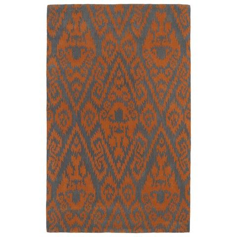 Hand-tufted Runway Orange/ Charcoal Ikat Wool Rug (2' x 3') - 2' x 3'