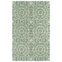 Hand-tufted Runway Mint/ Ivory Suzani Wool Rug - 2' x 3'