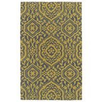 Hand-tufted Runway Grey/ Yellow Damask Wool Rug - 2' x 3'