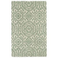 Hand-tufted Runway Mint/ Ivory Damask Wool Rug - 2' x 3'