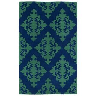 Hand-tufted Runway Navy/ Emerald Damask Wool Rug (2' x 3')