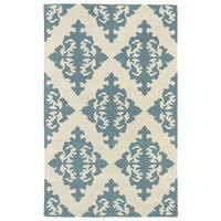 Hand-tufted Runway Mint/ Ivory Damask Wool Rug (2' x 3') - 2' x 3'