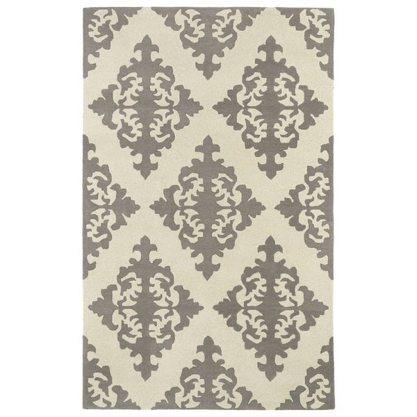 Hand-tufted Runway Light Brown/ Ivory Damask Wool Rug (2' x 3')