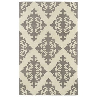 Hand-tufted Runway Light Brown/ Ivory Damask Wool Rug (2' x 3')