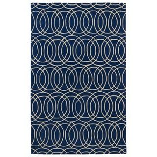 Hand-tufted Cosmopolitan Circles Navy/ Ivory Wool Rug (3' x 5') - 3' x 5'