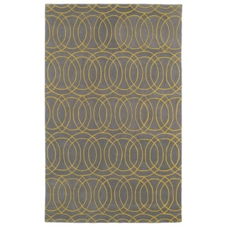 Hand-tufted Cosmopolitan Circles Yellow/ Light Brown Wool Rug (3' x 5') - 3' x 5'
