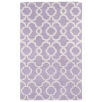 Hand-tufted Cosmopolitan Trellis Lilac/ Ivory Wool Rug - 3' x 5'