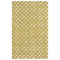 Hand-tufted Cosmopolitan Yellow/ Ivory Wool Rug - 3' x 5'