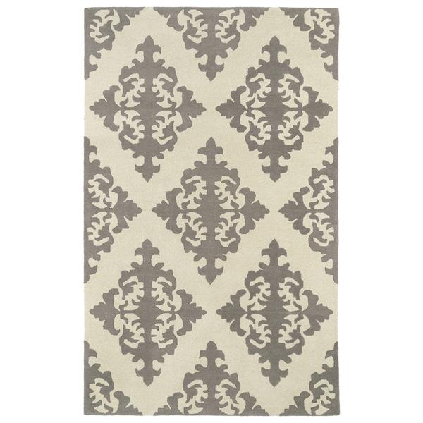 Hand-tufted Runway Light Brown/ Ivory Damask Wool Rug - 5' x 7'9