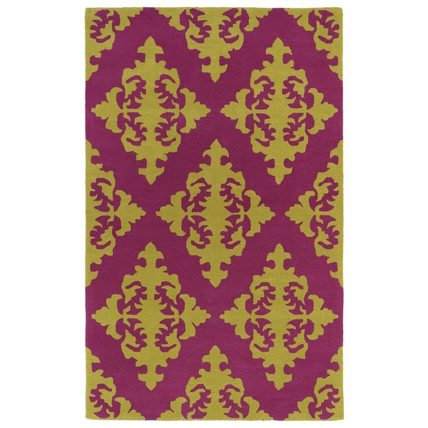 Hand-tufted Runway Pink/ Gold Damask Wool Rug - 5' x 7'9