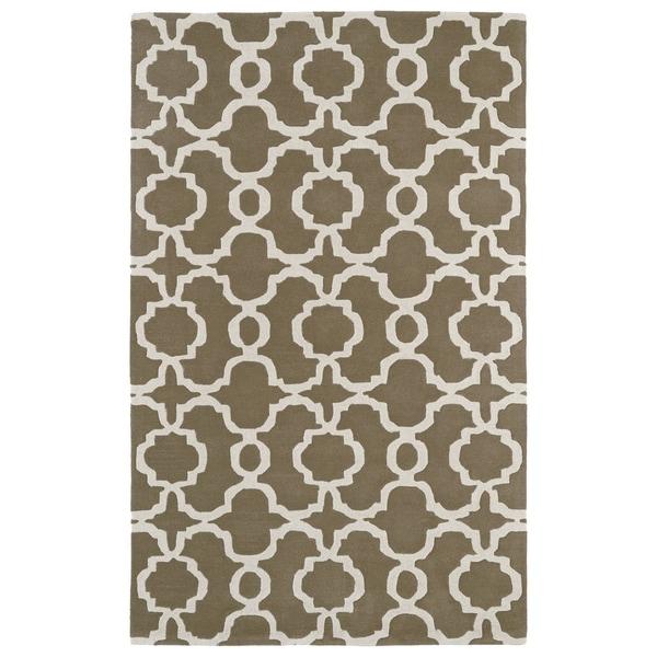 Hand-tufted Cosmopolitan Trellis Brown/ Ivory Wool Rug - 5' x 7'9