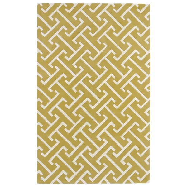 Hand-tufted Cosmopolitan Yellow/ Ivory Wool Rug - 5' x 7'9