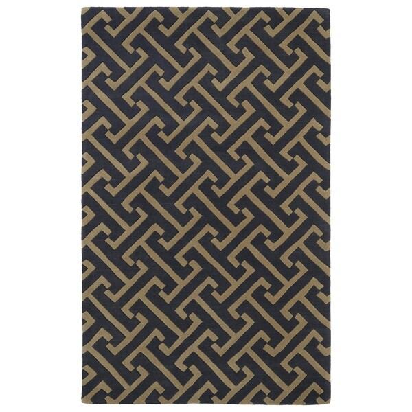 Hand-tufted Cosmopolitan Charcoal/ Brown Wool Rug - 5' x 7'9
