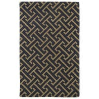 Hand-tufted Cosmopolitan Charcoal/ Brown Wool Rug - 5' x 7'9