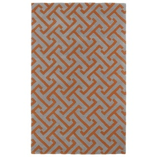 Hand-tufted Cosmopolitan Orange/ Grey Wool Rug (5' x 7'9) - 5' x 7'9""
