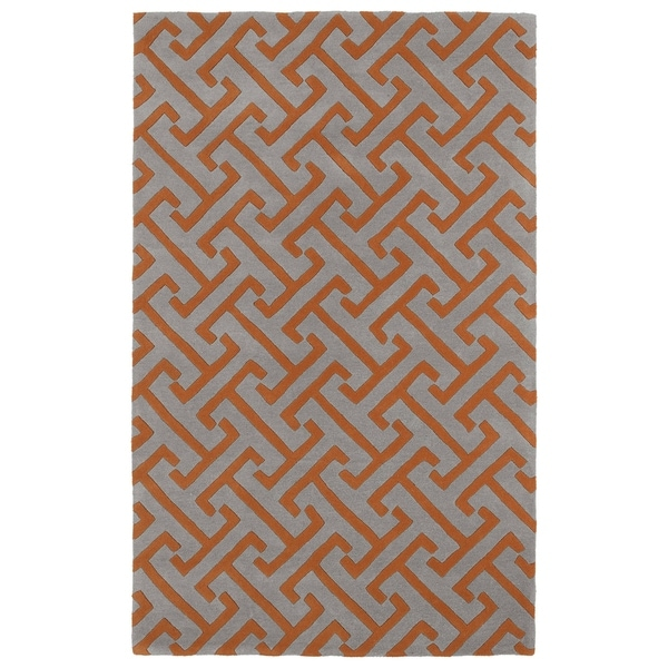 Hand-tufted Cosmopolitan Orange/ Grey Wool Rug - 5' x 7'9