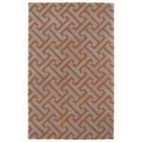 Hand-tufted Cosmopolitan Orange/ Grey Wool Rug - 5' x 7'9