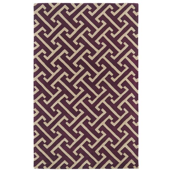 Hand-tufted Cosmopolitan Plum/ Beige Wool Rug - 5' x 7'9