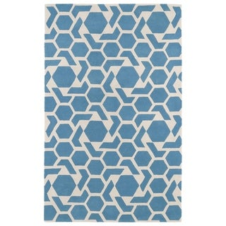 Hand-tufted Cosmopolitan Geo Blue/ Ivory Wool Rug (5' x 7'9)