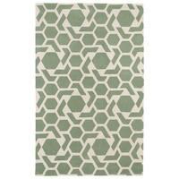 Hand-tufted Cosmopolitan Geo Mint/ Ivory Wool Rug - 5' x 7'9