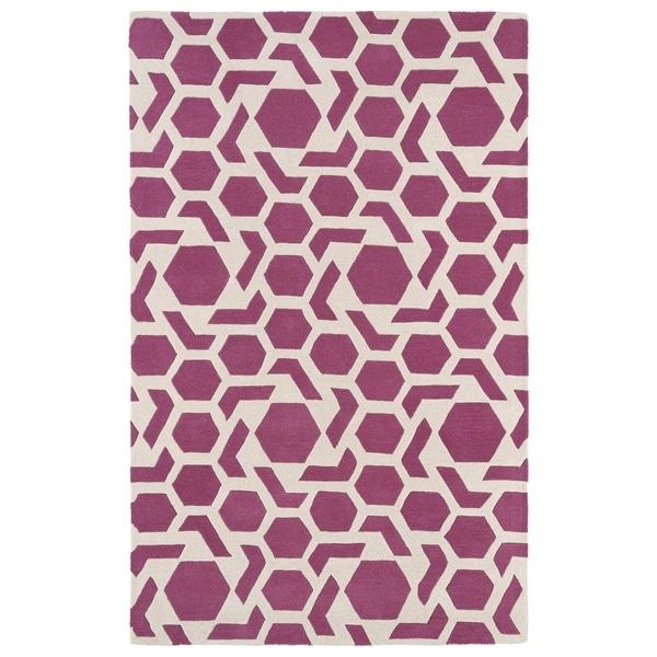 "Hand-tufted Cosmopolitan Geo Pink/ Ivory Wool Rug (5' x 7'9) - 5' x 7'9"""