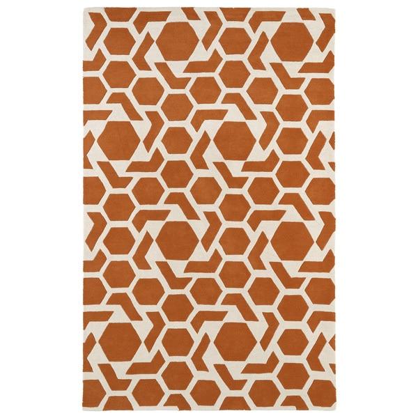 Hand-tufted Cosmopolitan Geo Orange/ Ivory Wool Rug - 5' x 7'9