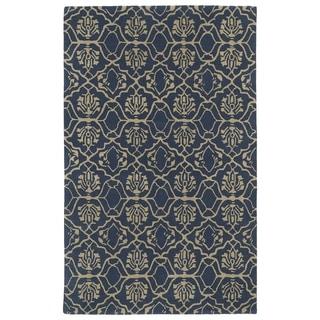Hand-tufted Runway Denim/ Light Brown Wool Rug (5' x 7'9)