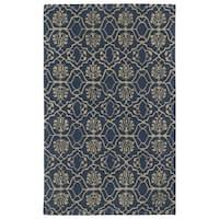 Hand-tufted Runway Denim/ Light Brown Wool Rug - 5' x 7'9