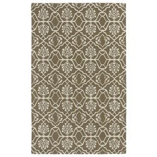 Hand-tufted Runway Light Brown/ Ivory Wool Rug (5' x 7'9)