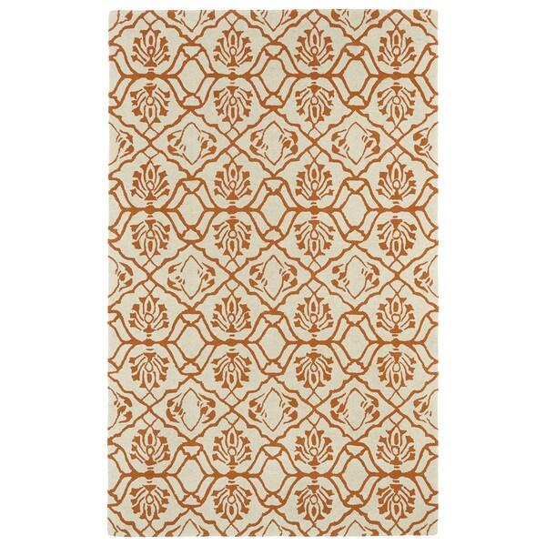 Hand-tufted Runway Orange/ Ivory Wool Rug (5' x 7'9) - 5' x 7'9