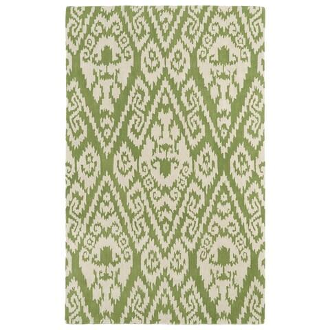 "Hand-tufted Runway Green/ Ivory Ikat Wool Rug - 5' x 7'9"""