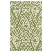 Hand-tufted Runway Green/ Ivory Ikat Wool Rug - 5' x 7'9