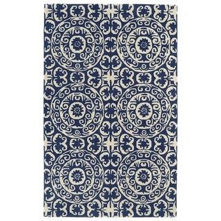 Hand-tufted Runway Suzani Navy/ Ivory Wool Rug (5' x 7'9) - 5' x 7'9