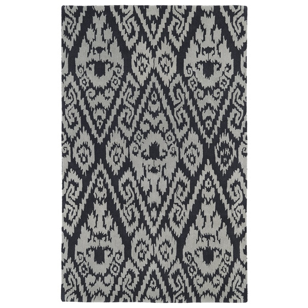 Hand-tufted Runway Charcoal/ Grey Ikat Wool Rug - 5' x 7'9