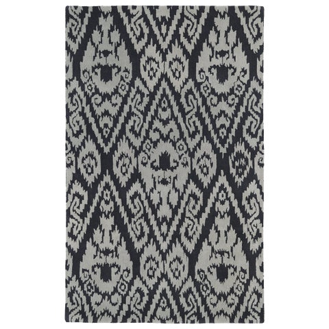 """Hand-tufted Runway Charcoal/ Grey Ikat Wool Rug - 5' x 7'9"""""""