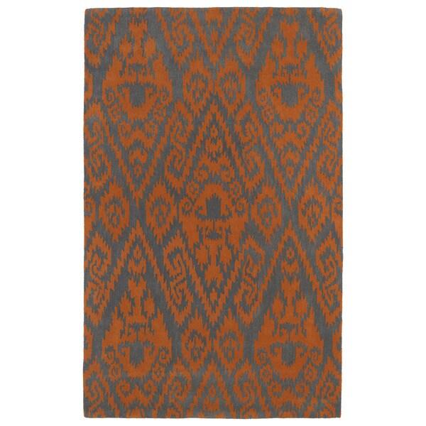Hand-tufted Runway Ikat Orange/ Charcoal Wool Rug - 5' x 7'9