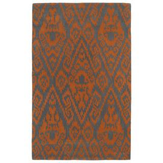 Hand Tufted Runway Ikat Orange Charcoal Wool Rug 5 X 7
