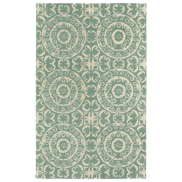 Hand-tufted Runway Suzani Mint/ Ivory Wool Rug - 5' x 7'9