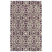 Hand-tufted Runway Suzani Purple/ Ivory Wool Rug - 5' x 7'9