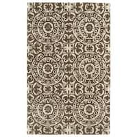 Hand-tufted Runway Brown/ Ivory Suzani Wool Rug (5' x 7'9)