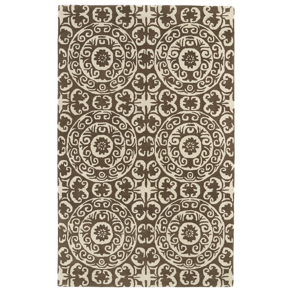 Hand-tufted Runway Brown/ Ivory Suzani Wool Rug - 5' x 7'9