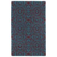 Hand-tufted Runway Suzani Peacock Blue/ Red Wool Rug (3' x 5') - 3' x 5'