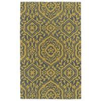 Hand-tufted Runway Grey/ Yellow Damask Wool Rug (3' x 5')